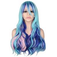 фиолетовый синий парик микс оптовых-Длинный волнистый косплей костюм для вечеринок смешанный синий розовый фиолетовый 0 см парики из синтетических волос