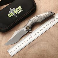ingrosso coltelli veloci in tasca-Coltello pieghevole apertura rapida design verde spina lama M390 Lama in lega di titanio TC4 manico da campeggio, coltello da tasca Strumento EDC