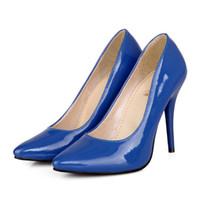 обувь для женщин каблуки оптовых-Насосы лакированная кожа новый указал многоцветный женская обувь Большой 40 41 42 43 44 45 46 47 Малый 31 32 33 высокий каблук 10 см EUR размер 30-48
