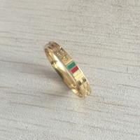ingrosso anelli di coppia rossa-New luxury fashion Brand Design argento oro argento verde rosso sottile coppia anelli gioielli per le donne uomini regalo di fidanzamento di nozze spedizione gratuita