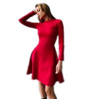 mini vestido ajustado al por mayor-Primavera Nuevas mujeres de moda de manga larga Tight -Fitting vestido ocasional delgado elegante mini fiesta de baile Vintage Vestidos femeninos