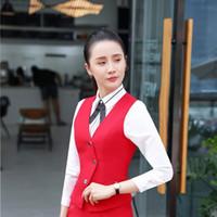 jaqueta de uniforme vermelho feminino venda por atacado-Moda Vermelho Uniforme Estilos Colete Casaco Colete Senhoras Escritório Desgaste do Trabalho Mulheres Negócios Tops Blazers Roupas Casacos Outwear