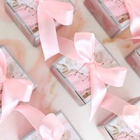Wholesale baby shower guests gifts resale online - 50PC sweet day Pink Wedding square Candy Box Birthday Baby Shower free ribbon Chocolate Gift Boxes Party souvenirs guest Favors
