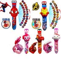 bilder uhren großhandel-Kinder-Cartoon-Projektionsuhr Princess Spiderman Ben Auto Armbanduhren für Jungen-Mädchen-Digitaluhr LED-Anzeige 24 Bild 3D-Projektion Uhr
