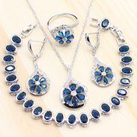 blaue stein armband-sets großhandel-Frauen Blau Zirkonia Steine 925 Silber Schmuck Sets Blume Form Ring Pa Ohrringe Anhänger Halskette CZ Armband