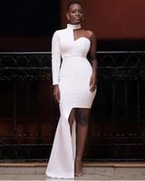 белое асимметричное платье с одним рукавом оптовых-Маленькое белое платье Холтер Вечерние платья с длинными рукавами 2019 Асимметричное короткое платье для выпускного вечера