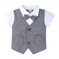 Wholesale colour pants boy for sale - Group buy Kids England Clothing Sets Striped Bow Turn down Collar Tops Short Pants Two Piece Sets Kids Casual Clothes Boy Clothes M T