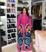 sexy kleidung großhandel-New Rose rot Große Schaukel African Print Kleider Frauen Kleidung Plus Size Sexy Elegante Schmetterling Print Kleid Robe Africaine Design Kleidung