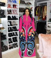 talla rosa ropa al por mayor-Nueva Rosa roja Gran Swing vestidos de impresión africanos ropa de mujer más tamaño sexy elegante vestido de impresión de la mariposa Robe Africaine diseño ropa