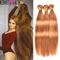 ingrosso tessuto biondo diritto-Beyo Honey Blonde # 27 Bundle di tessuto capelli brasiliani Bundle di capelli umani diritti 3 Bundle Deals estensioni di capelli Remy 12-24 pollici Beyo