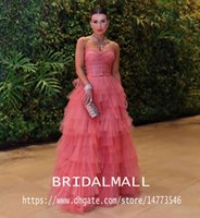 Wholesale pictures elegant evening dresses for sale - Group buy Elegant Water Melon Tiered Tulle Long Prom Dresses Sweetheart Formal Party Gowns A Line Floor Length Pageant Evening Dress Abendkleider
