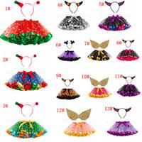 faldas tutu de malla al por mayor-14 estilos Halloween Baby Girl Tutu con diadema wring Niños Colorido Vestido de fiesta de Navidad Niño Niña Falda de pastel de malla 2pcs / set FFA2799-1
