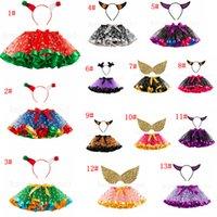 weihnachten tutu stirnband großhandel-14styles Halloween-Baby-Ballettröckchen mit dem Stirnband, das Kinder bunte Weihnachtsfest-Kleid-Kind-Mädchen-Ineinander greifen-Kuchen-Rock 2pcs / set FFA2799-1 wringt