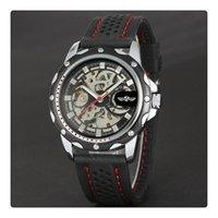 esqueleto de relógio de pulso venda por atacado-Esporte de luxo Um Relógios Especiais Para Homens Esqueleto Relógios De Pulso Automático Sinuosas Movimento Mecânico Mostrador Preto