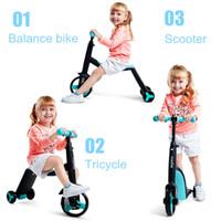 ingrosso scooter triciclo-3 in 1 Bambini scooter calcio Kickboard + Triciclo + bici Bambino Ride On Toy Boy Girl motorino regolabile bambino regalo di compleanno