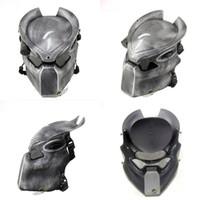 masque de prédateur achat en gros de-Alien Vs Predator Solitaire Loup Masque Avec Lampe En Plein Air Wargame Masque Tactique Visage Complet Cs Masque Halloween Party T8190617