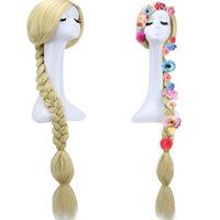 Wholesale new princess wig for sale - New COS anime wig Magical long hair princess Le Pei big braid wig double twist wig Party Supplies T8C013