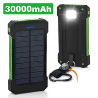 Wholesale cell phone battery banks online – Universal mAh Portable Solar Charger Banks Waterproof Solar Panel Battery Chargers with Ultra thin Highlight LED for all cell phone