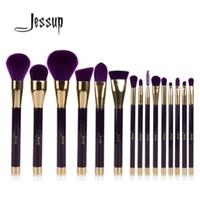 Wholesale makeup jessup brush set for sale - Group buy Jessup Purple Darkviolet Makeup Brushes Set Foundation Eyeshadow Eyeliner Lip Contour Concealer Smudge Brush Tool