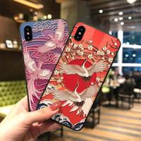 talla de grúa al por mayor-cubierta del teléfono de estilo japonés Grus Grúa japonesa cáscara del teléfono Talla cubierta del teléfono del patrón para el iPhone 7 8plus XR X MAX