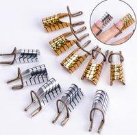 ferramentas de modelagem de unhas venda por atacado-20pc Nail Art C Curvo Forma Guia de Extensão Dicas Francês Foil Acrílico Polonês Gel UV Design Formulário Reutilizável Metal Mold Manicure Ferramenta