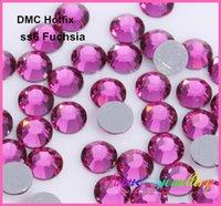 Wholesale dmc rhinestone ss6 resale online - ss6 mm High Quality DMC Fuchsia Iron On Rhinestones Hot fix Rhinestones