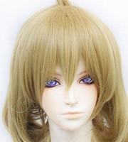 pelucas rubias onduladas al por mayor-WIG 31 Devil Survivor 2 Yanagiya Otome Té ondulado corto Rubio cosplay peluca