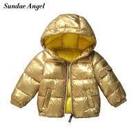 kışlık ceketler unisex parkas toptan satış-Sundae Melek Kış Ceket Erkek Altın Parlak Kapşonlu Sıcak Kız Parkas Coat Katı Çocuk Aşağı Pamuk Yastıklı Ceket Kabanlar