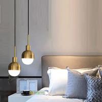 lampes de chambre en laiton antique achat en gros de-Chambre nordique Laiton Lampe Vintage Suspension Loft Industriel Luminaire E27 Pendant Light Antique Mini lustres