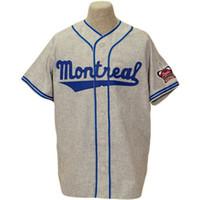 velho basebol venda por atacado-Personalizado Montreal Royals Old School Road Flannels Jerseys 9 Jackie Robinson 1946 Cinza 5 Roberto Clemente 1954 Cream Home Team Jerseys de beisebol