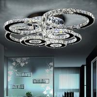 candelabros de cristal para las habitaciones al por mayor-Moderna de acero LED Lámparas artefacto de iluminación inoxidable lámpara de techo de cristal para estar Dormitorio anillo de diamante LED Lustres Lamparas de Techo