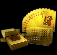 hoja de oro tarjetas al por mayor-20set Tarjeta de póquer Lámina de oro Lámina de naipes Plástico Póquer Impermeable de alta calidad Local Gold Gold PET / PVC estilo general Al por mayor