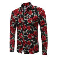 marcas de roupas vintage venda por atacado-Moda Vintage Floral Imprime Mens Camisas de Vestido de manga Longa Slim Casual impressão Flores Camisas Sociais Masculina Man Marca Roupas