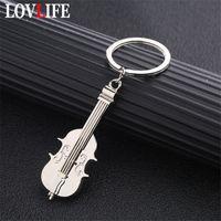 estudiante de encantos al por mayor-Mini llavero de violín Charm Music llavero creativo Metal llavero plateado nota musical símbolo colgante llaveros estudiantes