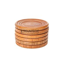Wholesale glass hot pads resale online - Natural Wood Kitchen Pads Round Pallet Wine Glass Cup Pad Hot Cold Drink Coasters Mug Table Mats Cooking Aid