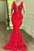 Wholesale feathers evening dress real resale online - Sexy Sleeveless Mermaid Prom Dresses Party Dresses Red V Neck Lace Appliques Cheap Evening Dresses Real Pictures Formal Dresses