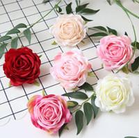 çiçek süslemeleri düğünler toptan satış-Yapay gül çiçek başları el yapımı düğün için 9 cm canlı sahte ipek çiçekler düğün DIY çiçek duvarlar gelin buketi ev partisi süslemeleri