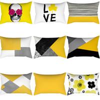 capas de almofadas de diamante quadrado venda por atacado-Capas de Almofada geométrica Amarelo E Cinza Diamante Onda Fronha Para Cadeira de Casa Sofá Decoração Quadrado Fronhas