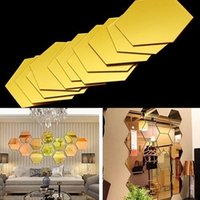 ingrosso adesivo piastrellato-3D Adesivi Murali Specchio esagonale Decorazione 12 pz / pacco Acrilico Smontabile Specchio Piastrella Decalcomania DIY Home Room Scale Decor WX9-1350