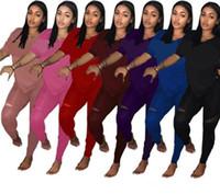 Wholesale plus size clothes piece online - Brand Designer Women Clothing Plus Size Two Piece Outfits Tracksuit Set Sequins V Neck T Shirts Tops Pants Trousers Clothes Suit CRZLY4103