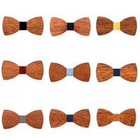 Wholesale butterfly mens tie resale online - Creative Mens Wood Bow Tie Fashion Mens Party Business Butterfly Cravat Classic Women Kids Party Bowknot Ties TTA1239