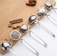 ingrosso cucchiaio di infusione del tè di forma del cuore-6 stili in acciaio inossidabile colino da tè cucchiaino condimento infusore stella conchiglia ovale rotondo a forma di cuore colino da tè