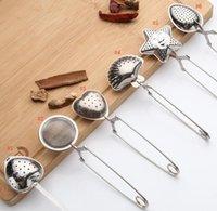edelstahlschale groihandel-Edelstahl 6styles Teesieb-Teelöffel-Gewürz-Infuser-Stern-Oberteil-Oval-rundes Herz-Form-Sieb Teaware