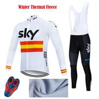 maillot ekibi gökyüzü pro bisiklet toptan satış-Pro Team Bisiklet Forması Set Kış Termal Polar MTB Uzun Kollu Maillot Ropa Ciclismo İtalya Triatlon erkek kadın Bisiklet Elbise Sky Team
