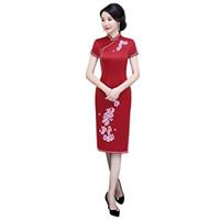 cdb3fb3a7555 Storia di Shanghai Fiore rossoTuta da ricamo Qipao al ginocchio Lunghezza  Abiti tradizionali cinesi Abito in seta sintetica cheongsam Abito da donna  cinese