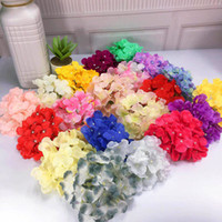 Wholesale green flowers hair decorations for sale - Group buy 18CM Colors Artificial Hydrangea Silk Flower Head For Wedding Flowers Wall ArchDIY Hair Flower Home Decoration accessory props