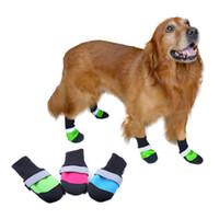 súper calcetines al por mayor-4pcs zapatos para mascotas súper ponible Oxford de tela impermeable impermeable antideslizante a prueba de lluvia y nieve calidez brillante perro gato calcetines botas.