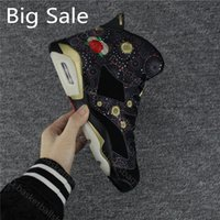 Wholesale chinese embroidered laced shoes resale online - Top Quality J6 Chinese New Year Men Basketball Shoes Black Peony Flower Embroidery New Good Sneakers With Box