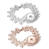 Wholesale rose gold snap buttons resale online - New mm Snap Button Jewelry Rose Gold Silver Snap Bracelet Bangles Flower Crystal Snap Button Bracelet for Women Men Jewelry