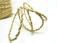 elfenbein griff großhandel-AUSVERKAUF | 5 Yards 4mm Gold und Elfenbein Seilschnur | Schnur | Seil | Dekorative Seilschnur | Griffschnur | Bastelbedarf